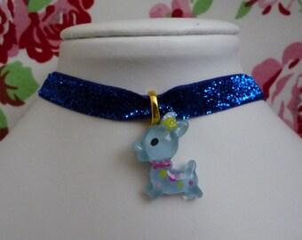 Kawaii blue glitter bambi deer choker necklace