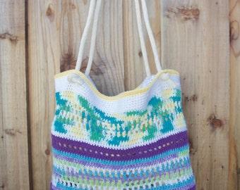 Handmade Crochet Beach Tote, Crochet Bag, Market Bag
