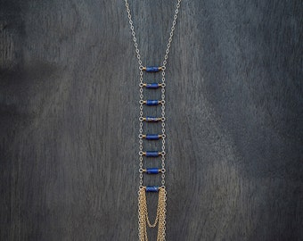Ladder Necklace - Lapis + Gold + Silver