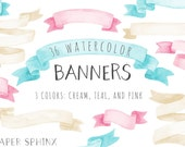Watercolor Banners Clipart | Ribbon Graphics - Party Banners - Birthday Graphics, Invitations - Digital Instant Download PNG Files