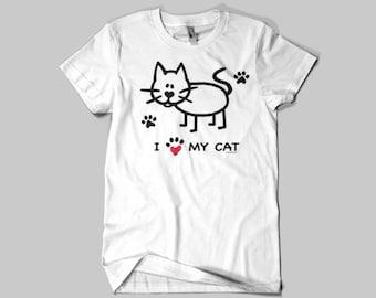 I Love My Cat, T - Shirt,cat,cats,feline.kitty,kitty cat,shirt,shirts,women,men,fun,funny,cute,sweat,sweat shirt,hoodie,Christmas,gift,