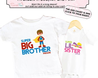 Super Hero Big Brother Personalized Shirt SET Little Sister SuperHero Sibling Personalized Big Sister Big Brother Shirts bodysuit SET