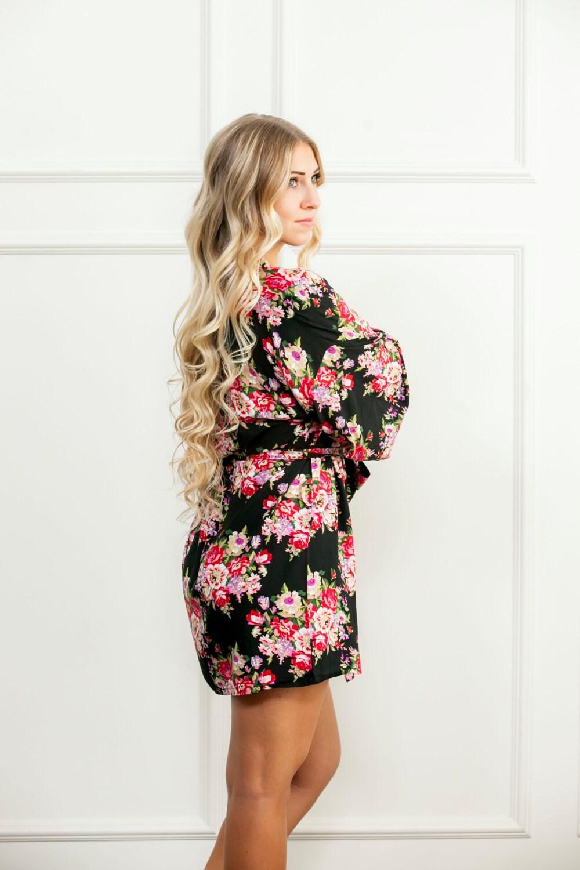 black floral robe handmade bridesmaid floral robe delivery