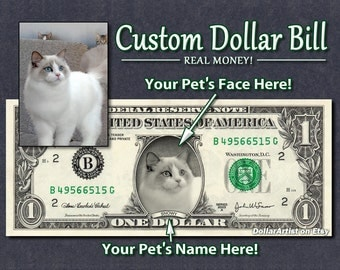 Your PET'S Face & Name on a REAL Dollar Bill Personalized Money Cash Custom Gift