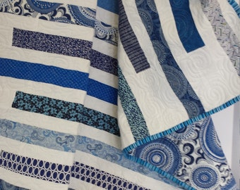 Classic Blue and White Strip Quilt made Modern Pieced back 44x48  Swirls