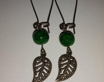 Green Bronze Leaf Earrings