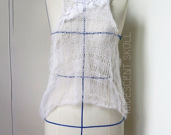White Hand Knitted Mohair Top