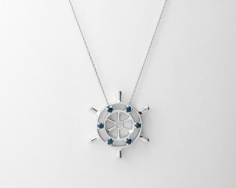 Sterling Silver Sapphire Sailor Wheel Necklace