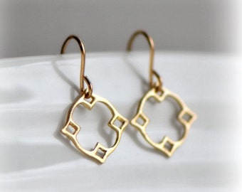 Moroccan Dangle Earrings in Gold, Gold Dangle Earrings, Gift for Her, Tiny Gold Earrings, Modern Earrings, Gold Delicate Earrings, Blissaria