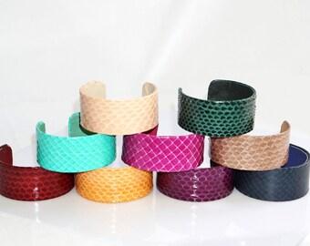 GENUINE SNAKESKIN open end bracelet, snake skin metal-based cuff, real leather bangle | Handmade real snake leather wristlet