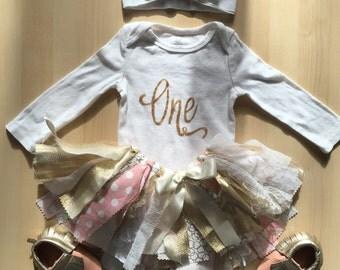 """Baby girl """"one"""" HANDMADE in Canada gold white onesie and headband cake smash first birthday photoshoot"""