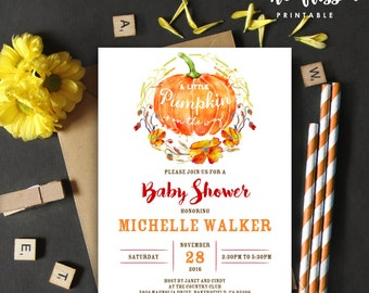 Pumpkin Baby Shower Invitation | 5x7 | Editable PDF | Instant Download | Personalize at home with Adobe Reader