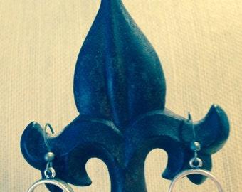 Silver circle and rhinestone earrings