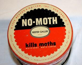 1950 Reefer-Galler No Moth Tin//Potpourri Tin//Collectible Tin//Vintage Tin
