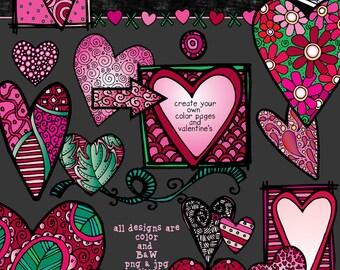 DJ Zen-Doodle Hearts Clip Art Download
