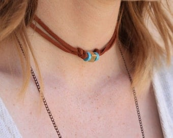 Gold, Turquoise and Brown Leather Choker