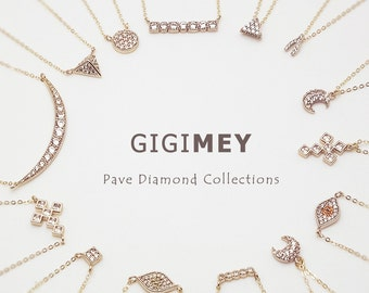 Pave Diamond Necklace, 14k Gold Filled Chain, Dainty Gold Necklace, minimal Delicate Necklace with CZ stones • NPD0