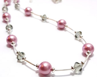 Pink Pearl Necklace, Crystal and Pearl Necklace, Sterling Silver, Black Crystal Necklace, Swarovski Crystal, 40th Birthday Gift Idea
