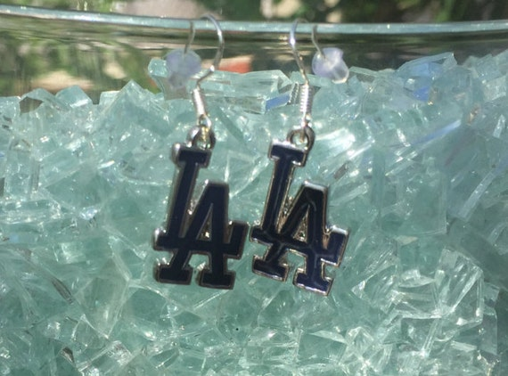 Los Angeles Dodgers Antique Silver Enameled Earrings