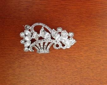 Vintage rhinestone brooch - silver tone -  art nouveau brooch