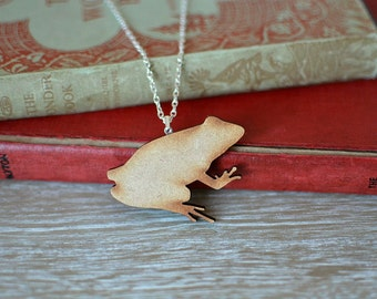 Wooden Frog Necklace | Summer Sale, frog gifts, toad jewelry, frog jewellery, toad necklace, frog lover, nature lover, gardener gift, garden
