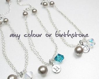 Personalised Initial Bracelet, Birthstone Bracelet, Name Bracelet, Crystal and Pearl Bracelet, Bridesmaid Bracelet, Gift for Her, Silver