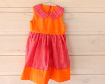 Orange Delight Girls Stripe Dress (Size 4)