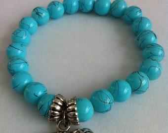 Elastic Beaded Bracelet with Charm