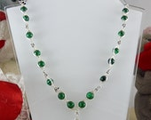 "Necklace with Green Malachite and Full Grain Leather- ""Woodland Dream"""