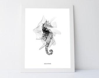 Geometric seahorse print, seahorse print, geometric print art, nautical wall art, art print, nautical print, sealife art, wall art printable
