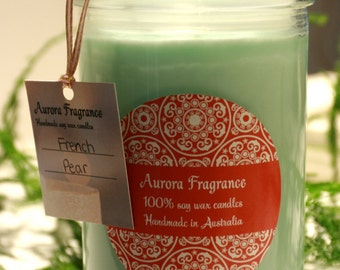 French Pear Soy Wax Coloured Candle in Glass Jars: AuroraFragrance