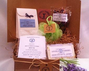 Eco Spa Gift set.Womens gift basket.Spa kit .Organic Bath set.Spa Gift for her.Spa Birthday gift .Bath & body gift.Bath Salt,Bath tea,soap