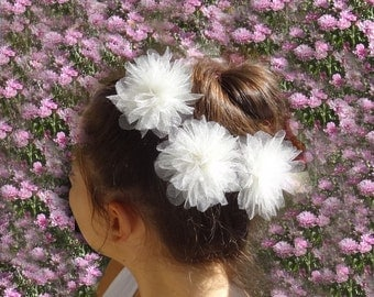 Bride Hair Pins - Bridal Hair Accessories - Tulle Flower - Flower Hair Pins- Bride Hair Accessories - Bridesmaid Hair Pins - Set of 3