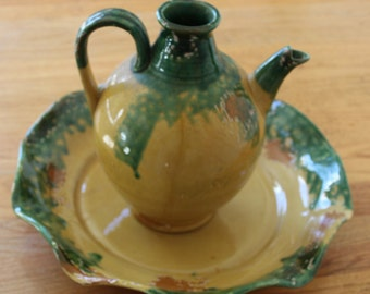 1980's Pitcher/ Vintage Pitcher with plate/ yellow and Green/Victorian Home Decor