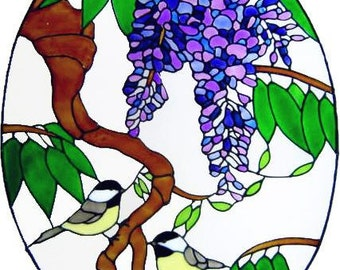 Wisteria & Birds Window Cling - handpainted - creates the look of stained glass  (Ref 894)