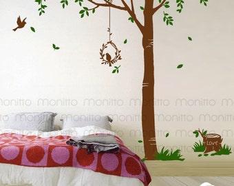 Spring Tree, Wall Decal, Birds, Leaves, Sticker, Decal, Kids room, Nursery, Bedroom, Modern Living, Decor [MT029]