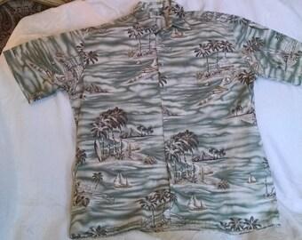 Pierre Cardin Hawaiian Shirt, Mens Size L ,Cotton, Mens Clothing, Hawaiian Shirts, Palm Tree, Beach, Button Down Shirt, Nautical Wear, camp