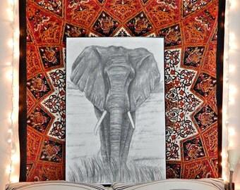 Elephant drawing print- sizes vary