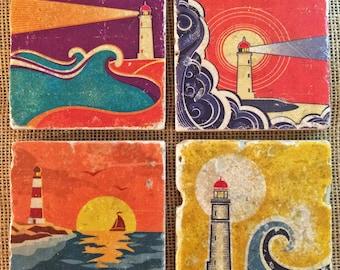 Colorful Lighthouse Graphics Coastal Design Natural Travertine Tile Coasters - Set of 4