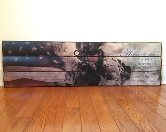 We the People Military Valor wooden wall decor