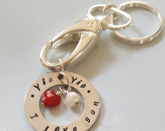 Yia'Yia' (Which means Grandmother in Greek .)// Keyring for YiaYia //Gift for YiaYia Yia