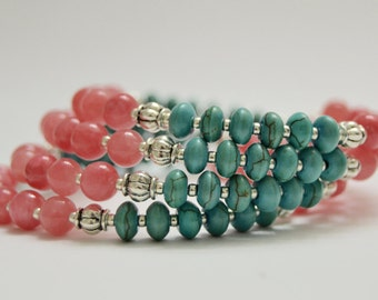 Pink and Turquoise Memory Wire Bangle Bracelet