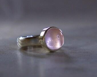 Polished Rose Quartz Brushed Silver Ring