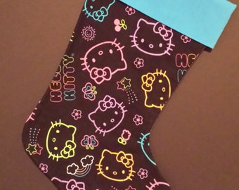 Hello Kitty Neon Christmas Stocking With A Blue Cuff