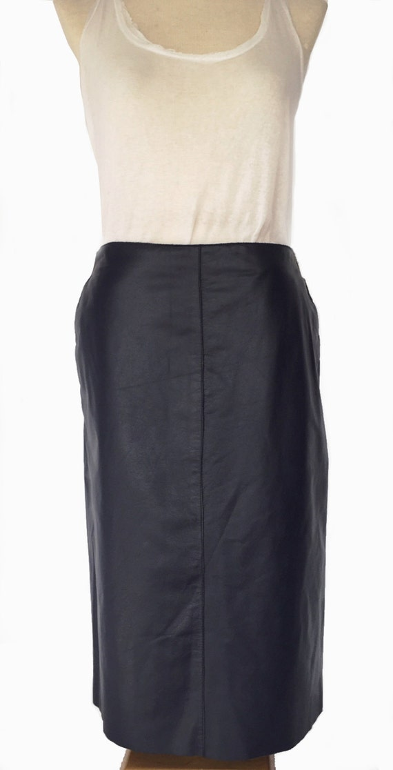 90s leather skirt kenneth cole con size 8 blue