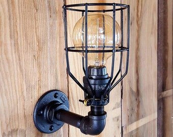 Industrial Lighting- Sconce Wall Light- Iron Pipe Light- Edison Bulb Machine Age Steampunk- Barn light- FREE SHIPPING!