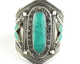 Tuquoise Fortress Cuff Bracelet, Afghani Arm Band, Vintage bracelet, Middle Eastern, Festival, Tribal, Ethnic, BOHO, Gypsy, Gemstone Jewelry
