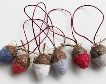Hand- Felted Hanging Acorns with Swarovski Crystal- Set of 6- Wool Ornaments- LittleMiniTitchy™ - UK