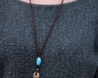 Boho necklace   driftwood jewelry   blue mother of pearl