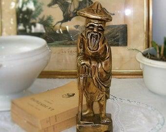 Statuette en bois vintage, sculpture en bois, personnage asiatique, Chine, Japon, Asie